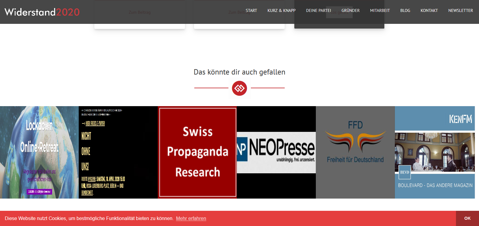 Screenshot der Website Widerstand2020